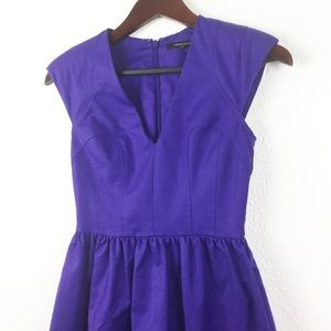 French Connection Purple V-neck Fit & Flare Dress